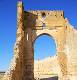 Morocco arch in africavvvv old construction street  the blue sky. Morocco arch in africa old construction     the blue sky Stock Image