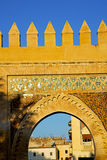 Morocco arch in   construction street  the blue. Morocco arch in africa old construction     the blue sky Royalty Free Stock Photos