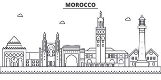 Morocco architecture line skyline illustration. Linear vector cityscape with famous landmarks, city sights, design icons. Editable strokes vector illustration