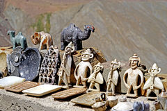 Typical artifacts for sale on the street of the atlas mountains in Morocco royalty free stock photo