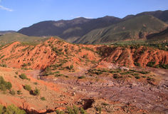Morocco Atlas mountains and dry river bed. Morocco The High Atlas Mountain range and dry river bed near Marrakesh stock photo