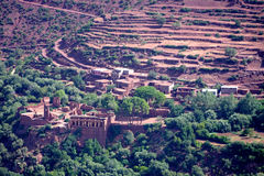 Typical berber village of the atlas mountains in Morocco. Morocco Atlas mountains. Village with red earth Just one hundred kilometers from the exotic Marrakesh Royalty Free Stock Photography