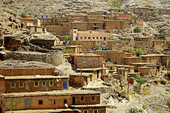 Typical berber village of the atlas mountains in Morocco. Morocco Atlas mountains. Village with red earth Just one hundred kilometers from the exotic Marrakesh royalty free stock image