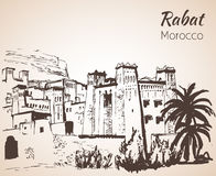 Morocco attracrions - Telouet. Sketch. Morocco attracrions.  Sketch. Isolated on white background Stock Photo
