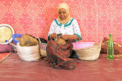 MOROCCO, AURIKA VALLEY - OCTOBER 24: Woman at work in a cooperat Royalty Free Stock Photo