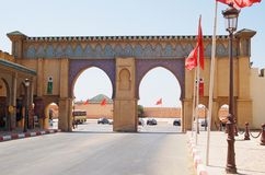 Morocco, the beautiful gate in Meknes Stock Images