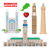 Morocco Casablanca Travel Set with Architecture and Flag Stock Images