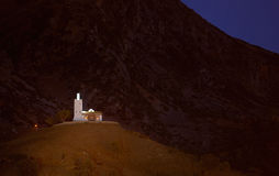Morocco, Chefchaouen. Lone mosque Bouzaafer on top of the hill Royalty Free Stock Photo