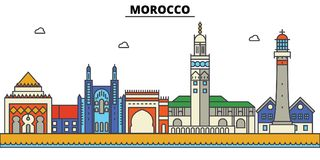 Morocco, . City skyline architecture . Editable strokes. Morocco, . City skyline architecture, buildings, streets, silhouette, landscape panorama landmarks Royalty Free Stock Photos