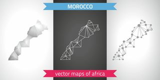 Morocco collection of vector design modern maps, gray and black and silver dot contour mosaic 3d map. Set of Morocco polygonal mosaic modern maps Stock Photography