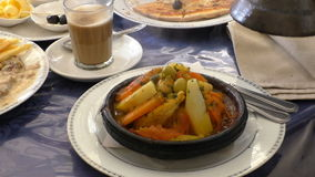 Morocco cuisine, tagine tajine dish stock video