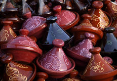 Morocco decorative tajines on sale Royalty Free Stock Images