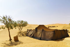 Morocco, desert Merzouga. Nomandenzelt in the desert of Morocco Stock Image
