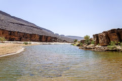 Morocco, Draa valley, pond Stock Image