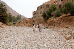 Morocco dry riverbed landscape Stock Photo