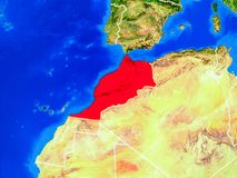 Morocco on Earth with borders. Morocco from space on model of planet Earth with country borders and very detailed planet surface. 3D illustration. Elements of royalty free stock photo