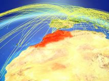 Morocco on Earth with network. Morocco on planet Earth with international network representing communication, travel and connections. 3D illustration. Elements royalty free stock photo