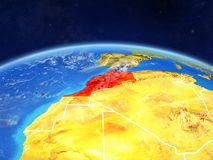 Morocco on Earth from space. Morocco on planet Earth with country borders and highly detailed planet surface and clouds. 3D illustration. Elements of this image stock photos