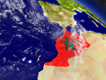 Morocco with embedded flag on Earth Royalty Free Stock Photography