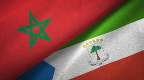 Morocco and Equatorial Guinea two flags textile cloth, fabric texture. Morocco and Equatorial Guinea two folded flags together royalty free illustration