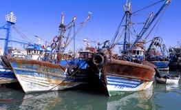 Morocco, Essaouira: fishing boats. Morocco, Essaouira:blue and white fishing boats stock photos