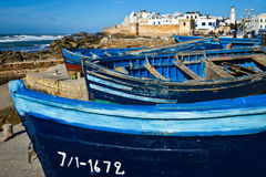 Morocco, Essaouira. White houses , red fortress fisherman`s boats and blue sky Royalty Free Stock Photo
