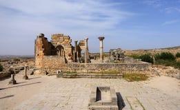 morocco Fördärvar av den forntida romerska staden av Volubilis Arkivbild