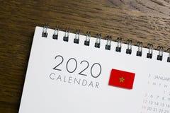 Morocco Flag on 2020 Calendar royalty free stock photo