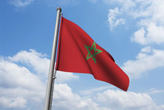 Morocco Flag with Clouds Royalty Free Stock Photography