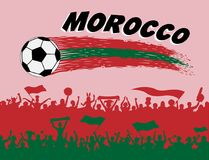 Morocco flag colors with soccer ball and Moroccan supporters sil. Houettes. All the objects, brush strokes and silhouettes are in different layers and the text Stock Images