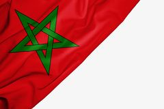 Morocco flag of fabric with copyspace for your text on white background royalty free illustration