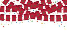 Morocco flag garland white background with confetti. Hang bunting for Moroccan independence Day celebration template banner, Vector illustration Royalty Free Stock Photography