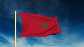 Morocco flag slider style. Waving in the wind with