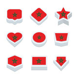 Morocco flags icons and button set nine styles Stock Photo