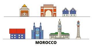 Morocco flat landmarks vector illustration. Morocco line city with famous travel sights, skyline, design. Morocco flat landmarks vector illustration. Morocco stock illustration