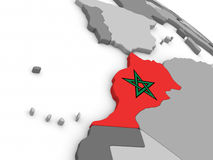 Morocco on globe with flag Stock Photography