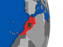 Morocco on globe with flag Royalty Free Stock Images