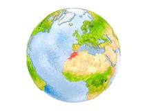 Morocco on globe isolated. Morocco highlighted in red on model of Earth. 3D illustration isolated on white background. Elements of this image furnished by NASA royalty free stock images
