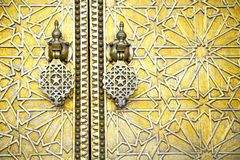 Morocco in gold star wood  facade home and safe padlock Stock Images