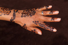 Morocco henna hand Stock Images
