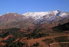 Morocco High Atlas Mountains. Morocco The snow capped High Atlas Mountain range between Marrakesh, Ait Ben Haddou and Ouarzazate royalty free stock images