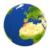 Morocco highlighted on Earth. Country of Morocco highlighted on globe. 3D illustration with detailed planet surface isolated on white background. Elements of Stock Image