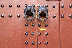 morocco knocker in africa the old wood  red  padlock Royalty Free Stock Photography