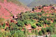 Morocco, : landscape of Ourika valley. Morocco, : red and green landscape of Ourika valley stock photography