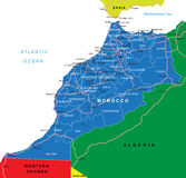 Morocco map. Highly detailed vector map of Morocco with administrative regions,main cities and roads Stock Images