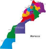Morocco map. Kingdom of Morocco map designed in illustration with the regions and main cities Stock Photo