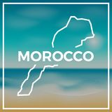 Morocco map rough outline against the backdrop of. Stock Photos