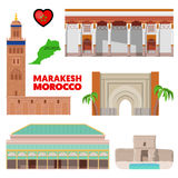 Morocco Marakesh Travel Set with Architecture and Flag Stock Photos