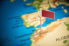 Morocco marked with a flag on the map royalty free stock image