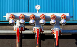 Industrial taps with manometer Stock Images